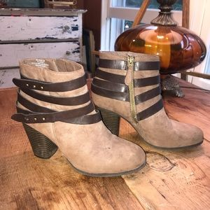 Brown strappy Madden Girl booties